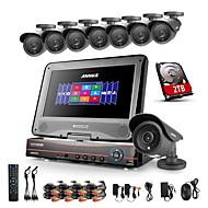 annke® 8ch ahd 960h dvr / HVR / NVR + 8 800tvl analogi 100ft IR mörkerseende säkerhet kameran systemet (2TB HDD)