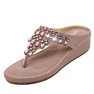 Women's Shoes Wedge Heel Flip Flops Sandals Casual Blue/Pink/Beige