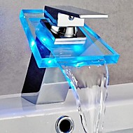 Bathroom Sink Faucet Color Changing LED Waterfall Brass High Grade Faucet (Chrome Finish)