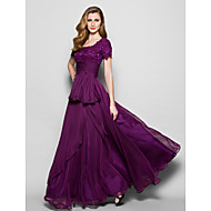 A-line Plus Size / Petite Mother of the Bride Dress - Floor-length Short Sleeve Chiffon / Lace