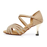 Latin Women's Sandals Flocking Stiletto Heel Dance Shoes Gold