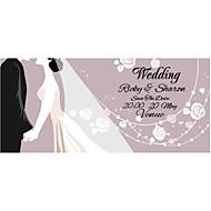 Personalized 50pcs/Lot Lilac Wedding Invitations Elegant Laser Cut Purple Love Figure Save The Date Paper Card