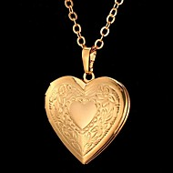 Женский Ожерелья с подвесками В форме сердца В форме цветка Мода резной Золотой Серебряный Бижутерия Особые случаи День рождения