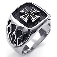 Mens Stainless Steel Ring, Vintage Gothic Cross Signet, Black Silver