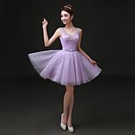 Cocktail Party Dress - Lavender Plus Sizes A-line V-neck Short/Mini Lace