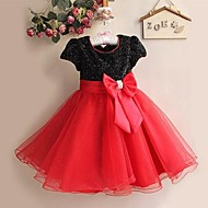 Flower Girl Dress Knee-length Satin/Tulle A-line/Princess Short Sleeve Dress
