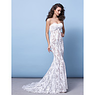 TS Couture® Formal Evening Dress - Ivory Plus Sizes / Petite Trumpet/Mermaid Strapless Court Train Sequined