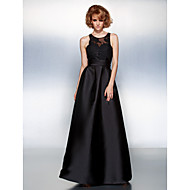 TS Couture® Prom / Formal Evening Dress Plus Size / Petite A-line Jewel Floor-length Satin with Appliques / Sash / Ribbon / Ruching