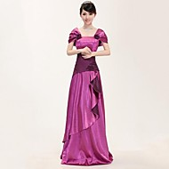Formal Evening Dress A-line Square Floor-length Stretch Satin with Embroidery / Lace / Sequins