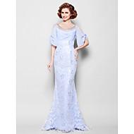 Trumpet/Mermaid Mother of the Bride Dress - Lavender Sweep/Brush Train Half Sleeve Lace