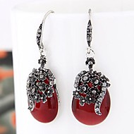 Women's European Style Retro Fashion Concise Droplets Drop Earrings With Opal