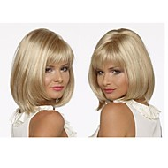 Top Quality Fashion Blonde Middle Long Straight Wig Woman's Synthetic Wigs Hair Classic Bob Style