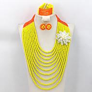 New Design Long Crystal Beads Jewelry Set African Wedding Bridal Jewelry Set AC062