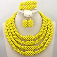Luxury 4 Rows Handmade Crystal African Beads Jewelry Set Bridal Necklace Bracelet Earrings Jewelry Set