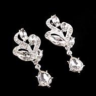 Vintage Party Wedding Princess Birde Leaf Crystal Drop Silver Earring