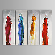 Oil Painting Modern Abstract People Hand Painted Canvas with Stretched Frame Set of 4