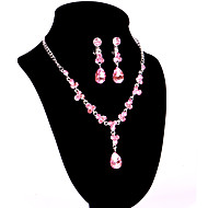 Women's Alloy Wedding/Party Jewelry Set With Rhinestone Pink