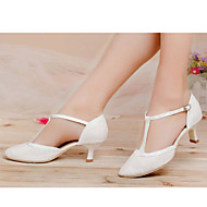 Women's Dance Shoes Latin Leather Chunky Heel Black/Pink/White