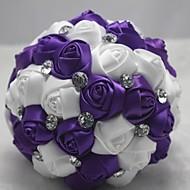 """Λουλούδια Γάμου Κυκλικό Μπουκέτα Γάμος Πολυεστέρας Σατέν Δαντέλα Χάντρα Στρας 7,09 """" (περίπου18εκ)"""