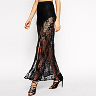 Women's Black Floral Lace Sheer Maxi Skirt