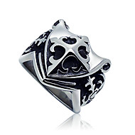 Men's Cross Pattern Shield Titanium Ring