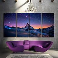 E-HOME® Stretched LED Canvas Print Art The Snow Capped Mountains LED Flashing Optical Fiber Print Set of 4