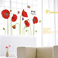 autoadesivi della parete decalcomanie della parete, fiori rossi adesivi murali in pvc