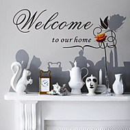 Wall Stickers Wall Decals, Style Welcome To Our Home Butterfly English Words & Quotes PVC Wall Stickers