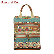 Kate&Co.® Women's Bohemia Style Canvas Leather Casual Backpacker Mutifunctional bag