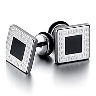 Mens Stainless Steel Gothic Stud Earrings, Black KE854
