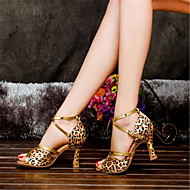 Women's Dance Shoes Latin Satin Flared Heel Black/Blue/Red/Leopard