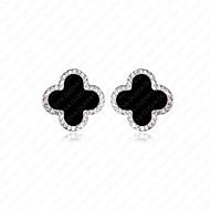 Women' Sterling Silver Earrings with Black Agate SBA0001E