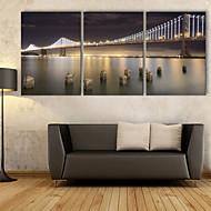 e-home® strukket ledet lerret kunst bro førte blinkende optisk fiber print sett med 3