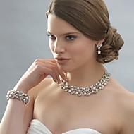 Women's Silver/Alloy Wedding/Party Jewelry Set Earring Necklace Bracelets With Rhinestone White Pearls For Bridal