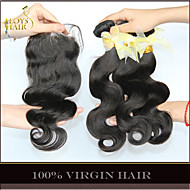3 Bundles Malaysian Virgin Hair Body Wave With Closure Unprocessed Human Hair Weave And Free/Middle/3 Part Lace Closures