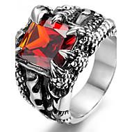 Heavy Vintage Stainless Steel Biker Men's Ring, Vintage, Claw, Red Crystal R928