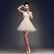 Homecoming Cocktail Party Dress - Champagne A-line Scoop Short/Mini Satin/Tulle
