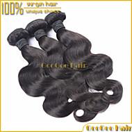"""3pcs / lot 10 """"28"""" capelli vergini brasiliani naturali dell'onda del corpo nero estensione brasiliana umani non trattati tessitura dei"""