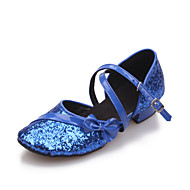 Women's/Kids' Dance Shoes Latin Leatherette/Paillette Flat Heel Black/Blue/Red/Silver/Gold