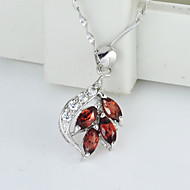 Women's Sterling Silver Necklace With Garnet SG0008P