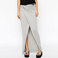 Women's Sexy Trendy Gray Jersey Drape Front Slit Maxi Skirt