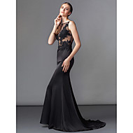 TS Couture Formal Evening Dress - Black Trumpet/Mermaid Bateau Sweep/Brush Train Charmeuse