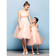 Cocktail Party Dress - Pearl Pink Ball Gown Straps Knee-length Organza/Tulle