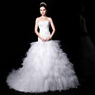 Trumpet/Mermaid Wedding Dress - White Court Train Sweetheart Lace/Organza/Charmeuse