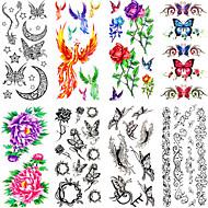 Dyre Serier/Blomster Serier/Andre - Tatoveringsklistremerker - Non Toxic/Mønster/Waterproof - Papir - 12 PCS - 25*11cn - Flower - til