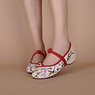 Γυναικεία παπούτσια - Μπαλαρίνες - Καθημερινά - Επίπεδο Τακούνι - Στρογγυλή Μύτη - Πανί - Μαύρο / Ιβουάρ