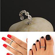 ajustable de plata antigua flor joyería de la vendimia playa del pie anillo del cuerpo del anillo del dedo del pie