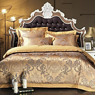 Simple Opulence 100% Cotton  Golden Satin Jacquard Silk Duvet Cover Set