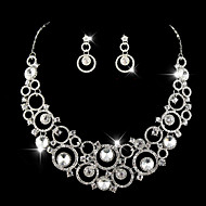 Women's Silver/Alloy Wedding/Party Jewelry Set Earring Necklace With Rhinestone For Bridal