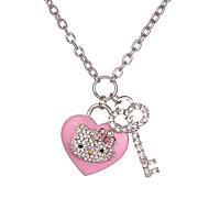 Fashion Rhinestone 3D Cute Heart Necklace With Key Charm
